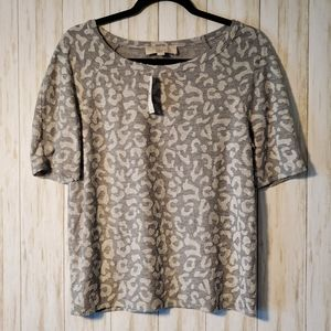 Loft Grey and White Leopard Tee